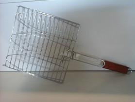 Решетка для рыбы 390х135, с дерев.ручкой 285мм. (МИ-93906)