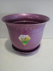 Кашпо с поддоном  Лилия 2,5л. Фиолетовый перламутр (Santino)