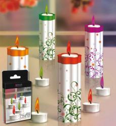 Свечи цветопламенные с подсвечн. 2шт./уп. (оранж.,фиолет.) GL4001-OP  GLOS