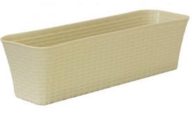 Балконный ящик РОТАНГ 60см с поддоном Белый ротанг М3226 (М-пласт.)
