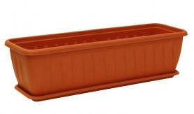 Балконный ящик АЛИЦИЯ 800мм. с поддоном  Терракотовый М3216 (М-пласт.)