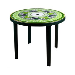 Стол пластм.  Флоренция круглый 90*90*75 темно-зелен  (Альтер. М2872)