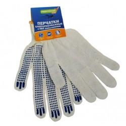 Перчатки Praktische Home, х/б, 3 нити, 10класс с ПВХ, Точка белые
