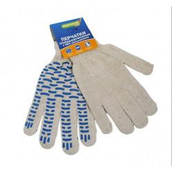 Перчатки Praktische Home, х/б, 4 нити, 10класс с ПВХ, Волна белые