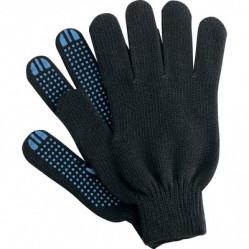 Перчатки Praktische Home, х/б, 4 нити, 10класс с ПВХ, Волна черные