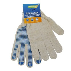 Перчатки Praktische Home, х/б, 4 нити, 10класс с ПВХ, Точка белые