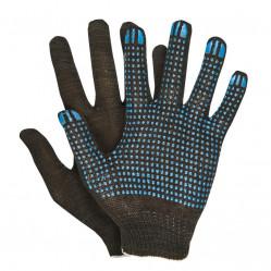 Перчатки Praktische Home, х/б, 4 нити, 10класс с ПВХ, Точка черные