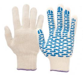 Перчатки Praktische Home, х/б, 5 нитей, 10класс с ПВХ, Волна белые