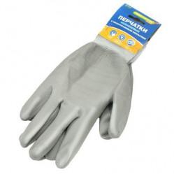Перчатки Praktische Home, нейлон полиуретан облив серые G-109
