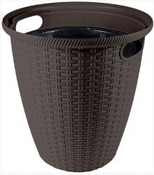 Кашпо Rattan D470мм/ 50л с внутр.горшком 27л горький шоколад (ПР)