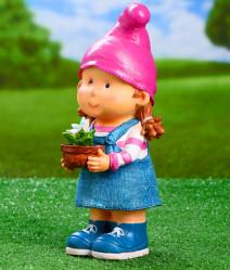 Фигура Девочка-гном с цветочком L15 W13 H32 см 713640/F712