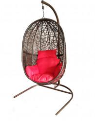 Подвесное кресло КОКОН XL (стойка коричн., корз.темно-кор.,подушка красн./беж.) арт.D52-MT001