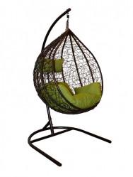 Подвесное кресло СФЕРА Veil (стойка черн., корз.коричн,подушка салат./беж.) арт.CN100-MT