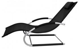 Лежак Модена (каркас серо-черн., ткань черная)  арт.7006