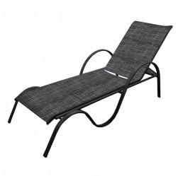 Лежак Неаполь (текстилен, каркас черн., ткань темно-серая)  арт.NE001-MT002