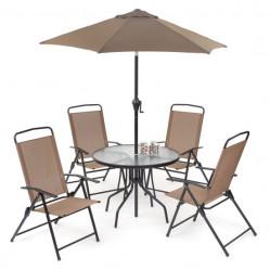 Набор мебели ЯЛТА (4 стула+стол+зонт, каркас черн., стол прозр., сид.корич.) арт.HFS-021/WR2119