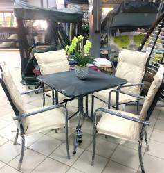 Набор мебели НИЦЦА (4 стула+стол, каркас антр.., подушки беж.) арт.C935/94