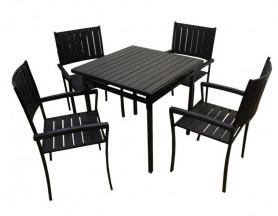Набор мебели ГАММА-800 (4 стула+стол 80х80, каркас черн.) арт.НК-1980/НК-1981