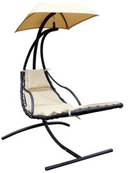 Подвесное кресло ЛАУРА (стойка коричн., каркас черн., ткань беж.) арт.ZRB05