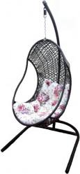 Подвесное кресло ОЛИВИЯ (стойка черн., корз.коричн.,подушка салат.) арт.M-3474