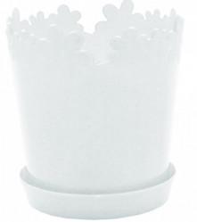 Кашпо Лютик с подст. 17см (белый) 115001 (Алеана)