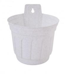 Кашпо Рина настенное 14  белый флок 112058 (Алеана)