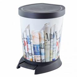 Ведро для мусора 10л.с педалью декор Газеты 124067 (Алеана)