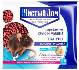 Чистый Дом  Гранулы с запахом ОРЕХА  (мыши,крысы,полевки) (пак.125гр.)