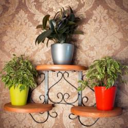 Кованая Подставка настенная с деревом на 3 цветка 13-213