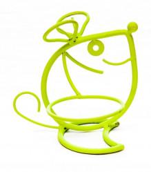 Кованая Подставка Мышь на 1 цветок светло-зеленая 14-723-Z