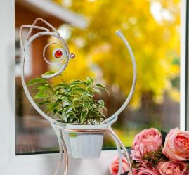 Кованая Подставка Кошка на 2 цветка d-10   95-046