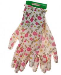 Перчатки Praktische Home, нейлон нитрил облив белые с цветами G-111-10