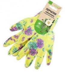 Перчатки Praktische Home, нейлон облив полиуретан с ПВХ Микроточка зеленые с цветами G-140-2