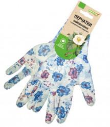 Перчатки Praktische Home, нейлон полиуретан облив белые с цветами G-109-4