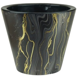 Кашпо Сияние 3л мрамор черный фольга (КШ-9058)